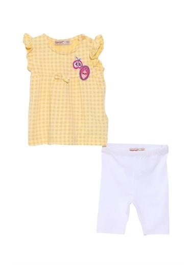 Silversun Kids Bebek Kız Pötikareli Kolları Fırfırlı Tişört Ve Tayt Takım Kt 118050 Sarı